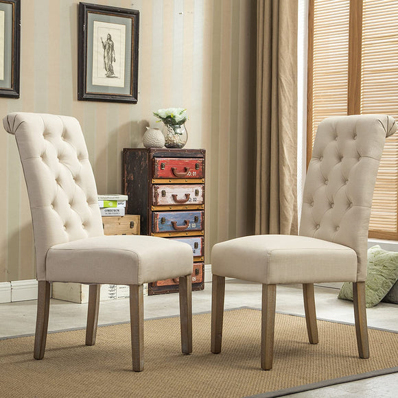 Button Tufted Solid Wood Wingback Hostess Chairs with Nail Heads- Tan - Home Furnishing Goods
