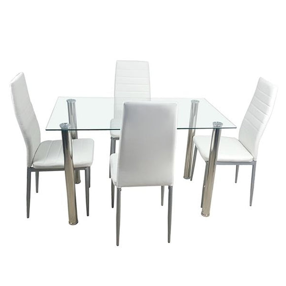 Tempered Glass Dining Table W/ Chairs - Home Furnishing Goods
