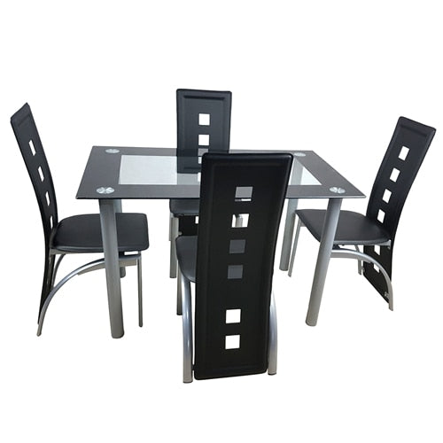 Dining Table Set Glass Steel w/4 Chairs - Home Furnishing Goods