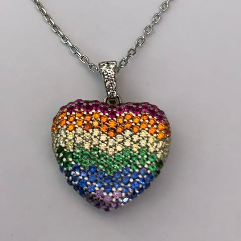 Rainbow heart shaped chain