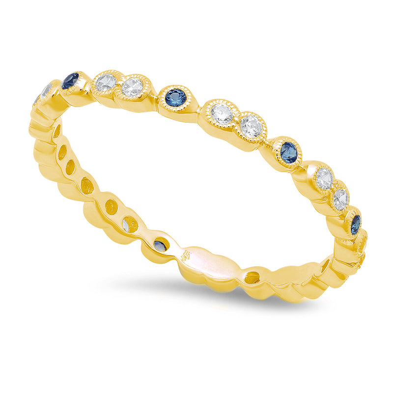 Alternating Single Sapphire and Double Round Diamonds Eternity Band | Beverley K