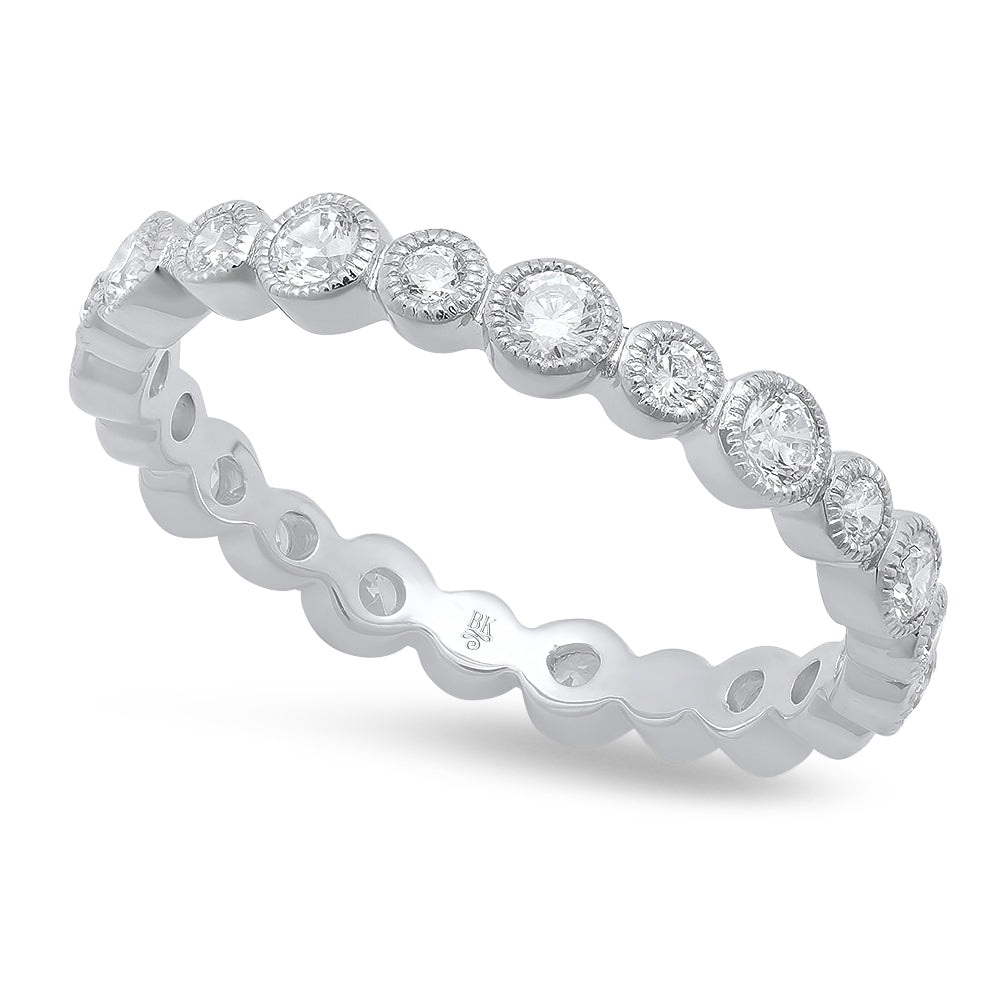 Alternating Size Round Diamond Eternity Band-Medium Version | Beverley K