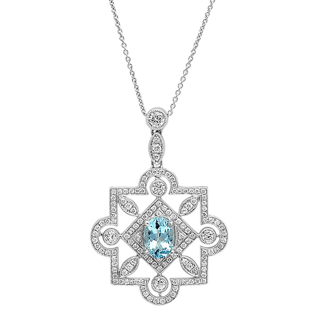 Diamond and Aqua Necklace | Beverley K