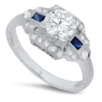 Art Deco Diamond Engagement Ring Setting with Baguette Sapphires | Beverley K