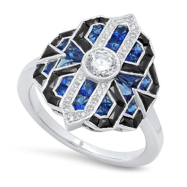Art Deco Sapphire, Onyx, and Diamond Ring | Beverley K