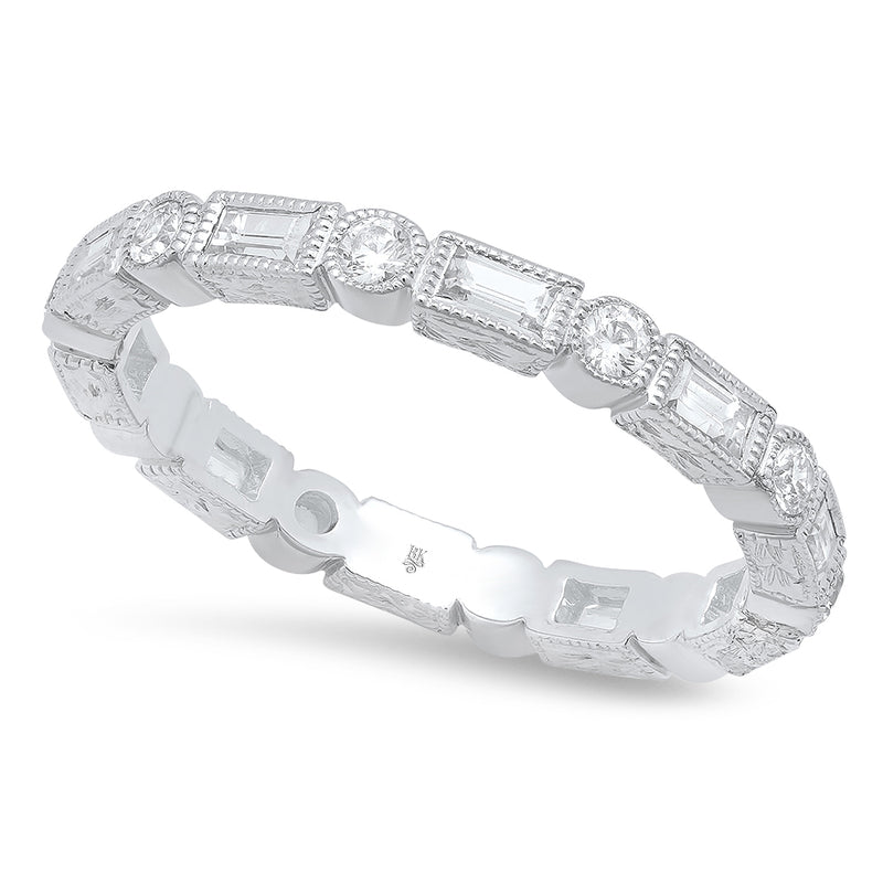 Baguette and Round Diamond Eternity Band-2.6mm | Beverley K