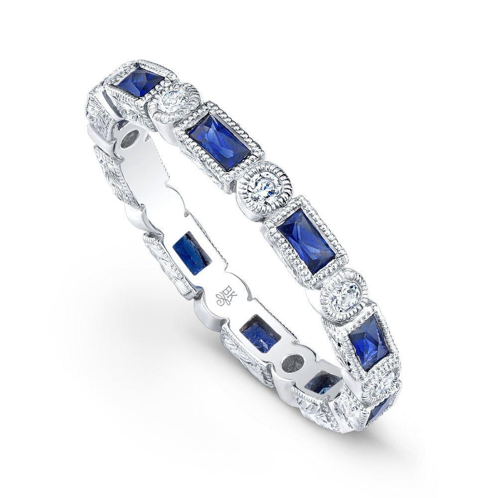 Baguette Sapphire and Round Diamond Eternity Band-2.6mm | Beverley K