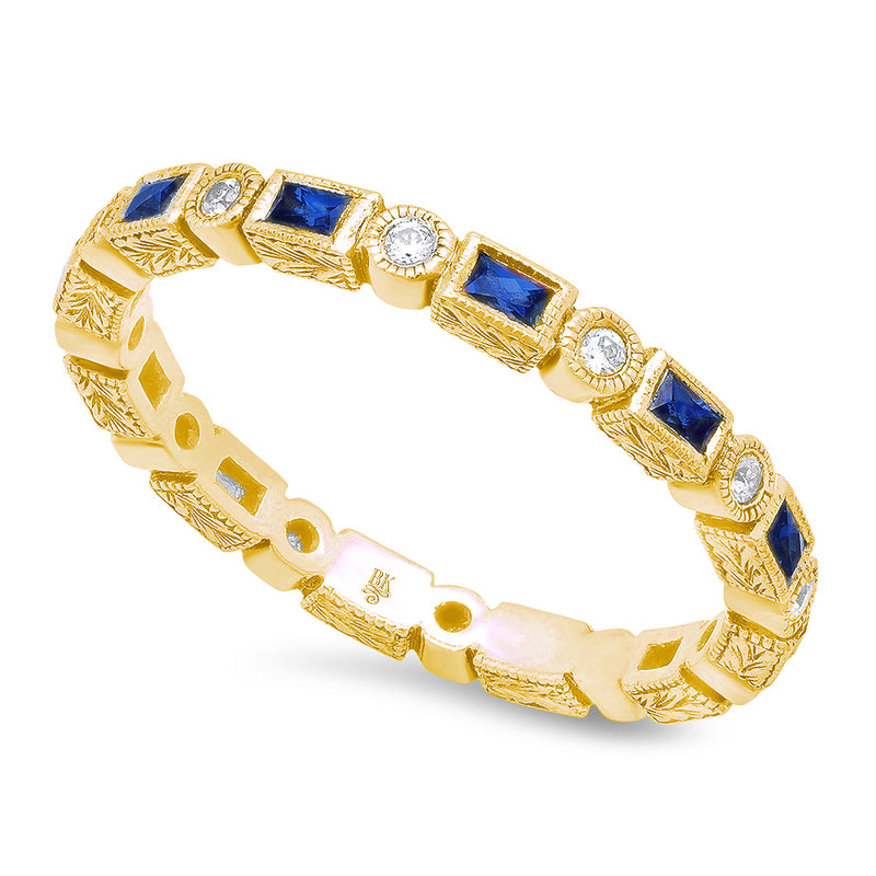 Baguette Sapphire and Round Diamond Eternity Band | Beverley K