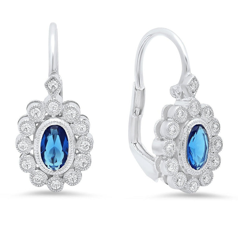 Bezel Set Diamonds and Oval Sapphire Earrings | Beverley K