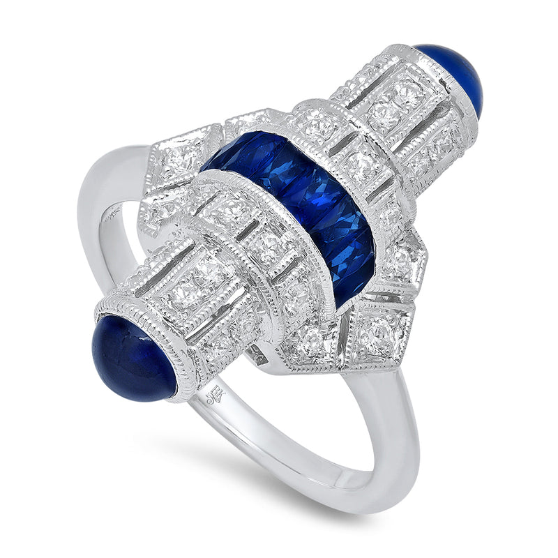 Art Deco Bullet Ring with Diamond and Sapphire | Beverley K