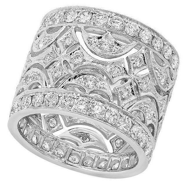 Cut-Out Design Wide Diamond Eternity Band | Beverley K