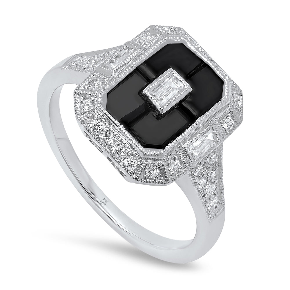 Onyx and Diamond Ring | Beverley K