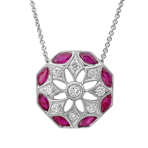 Daisy Diamond and Ruby Necklace | Beverley K