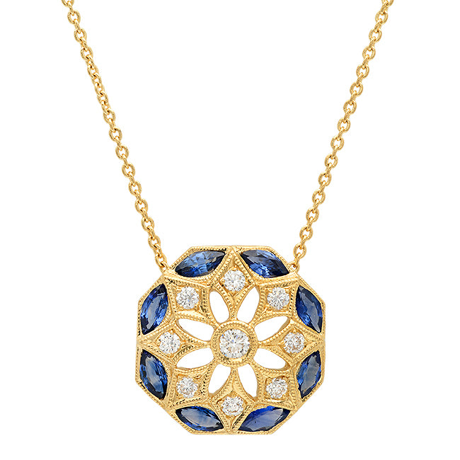 Daisy Diamond and Sapphire Necklace | Beverley K