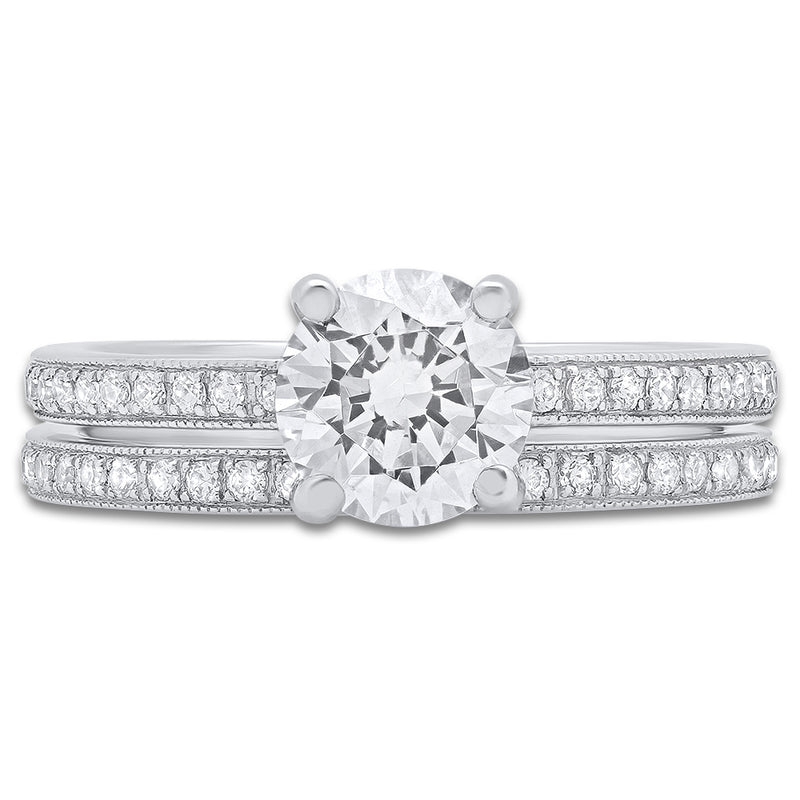Diamond Engagement Ring Setting and Matching Band | Beverley K