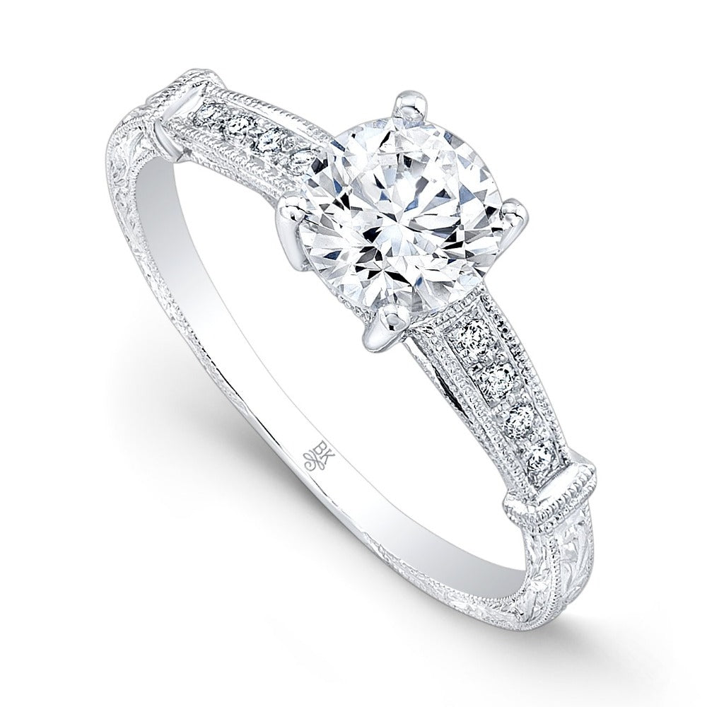 Diamond Engagement Ring Setting with Milgrain and Engraving | Beverley K