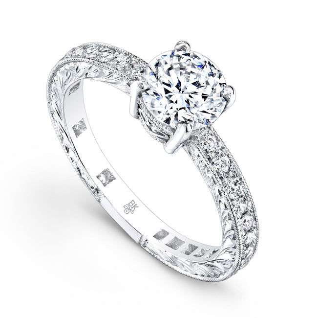 Diamond Engagement Ring Setting with Filigree and Engraving | Beverley K