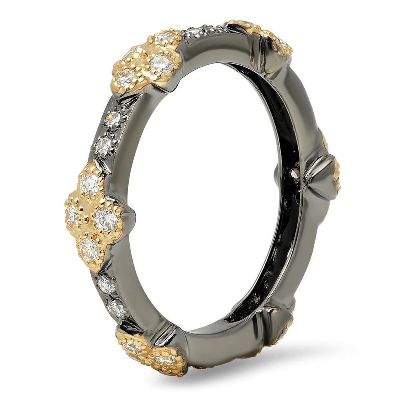 Diamond Eternity Band with Black Rhodium Plating and Yellow Gold Clovers | Beverley K