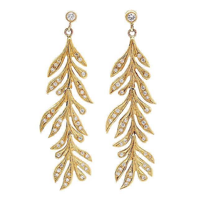 Diamond Leaf Earrings | Beverley K