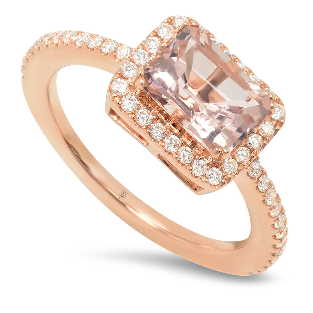 Diamond Ring with Emerald Cut Morganite Center | Beverley K