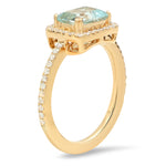 Diamond Ring with Emerald Cut Aqua Center | Beverley K