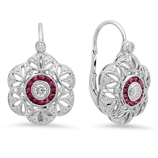 Diamond and Ruby Flower Earrings | Beverley K