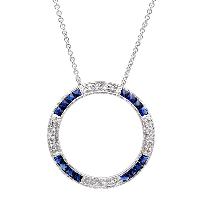 Diamond and Sapphire Circle Necklace | Beverley K