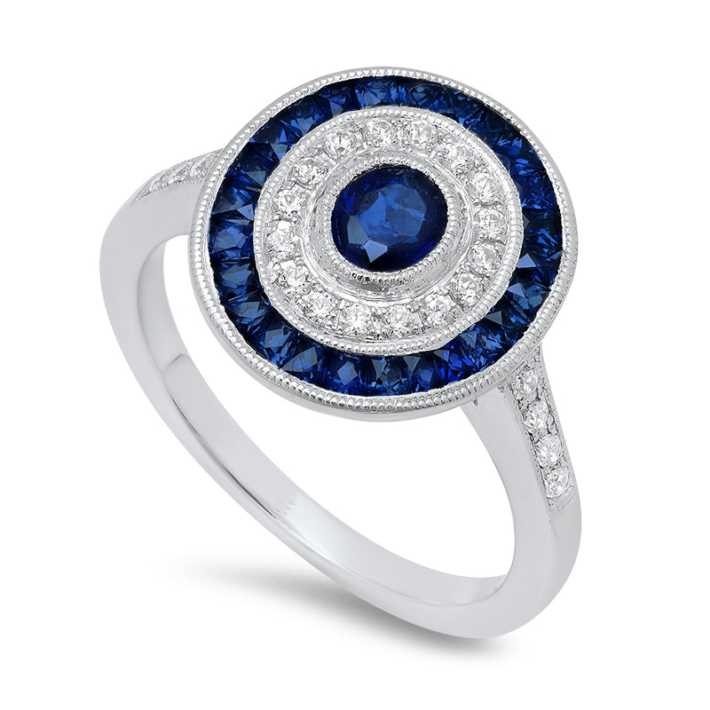Diamond and Sapphire Double Halo Ring | Beverley K