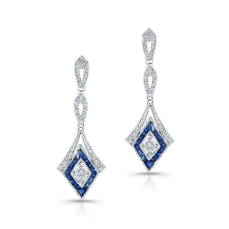 Diamond and Sapphire Drop Earrings | Beverley K