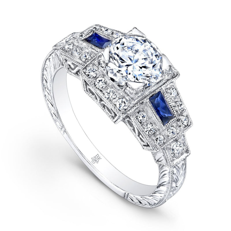 Diamond Engagement Ring Setting with Baguette Sapphires | Beverley K