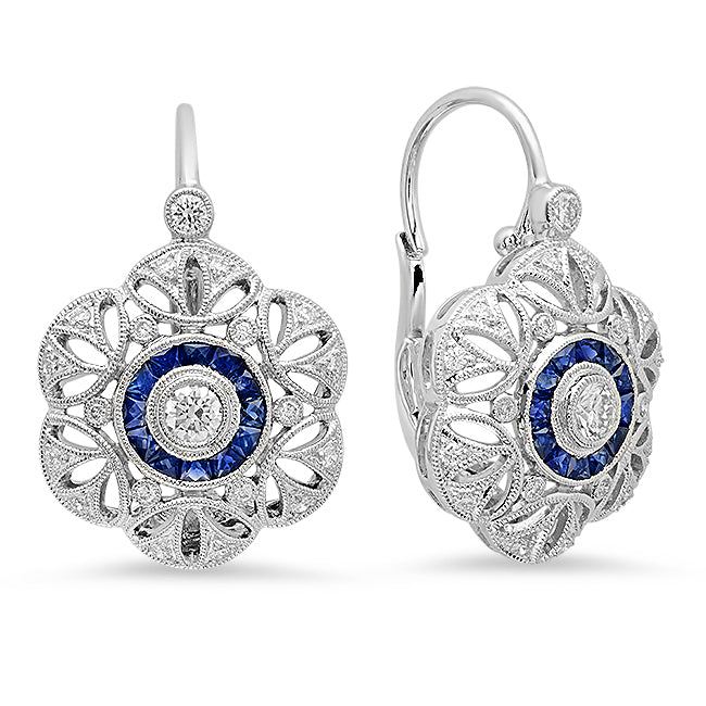 Diamond and Sapphire Flower Earrings | Beverley K