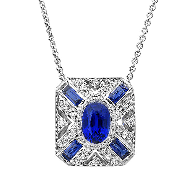 Diamond and Oval Sapphire Pendant | Beverley K
