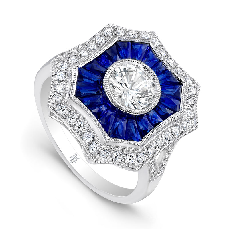 Vintage Style Ring-White Sapphire, Blue Sapphire, Diamonds | Beverley K