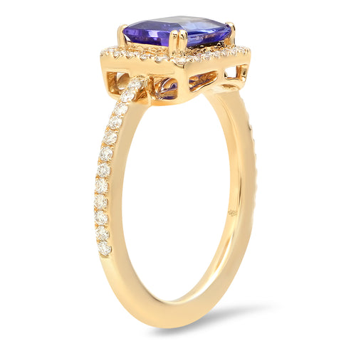 Diamond Ring with Emerald Cut Tanzanite Center | Beverley K