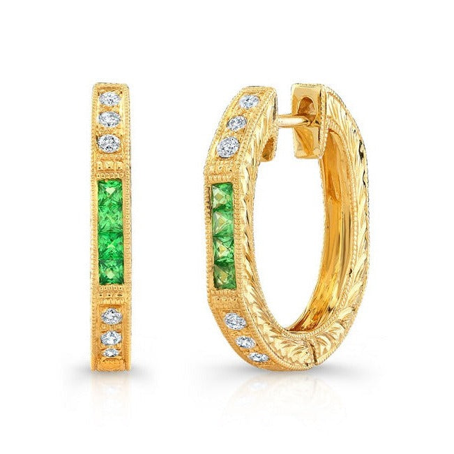 Diamond and Tsavorite Hoop Earrings | Beverley K