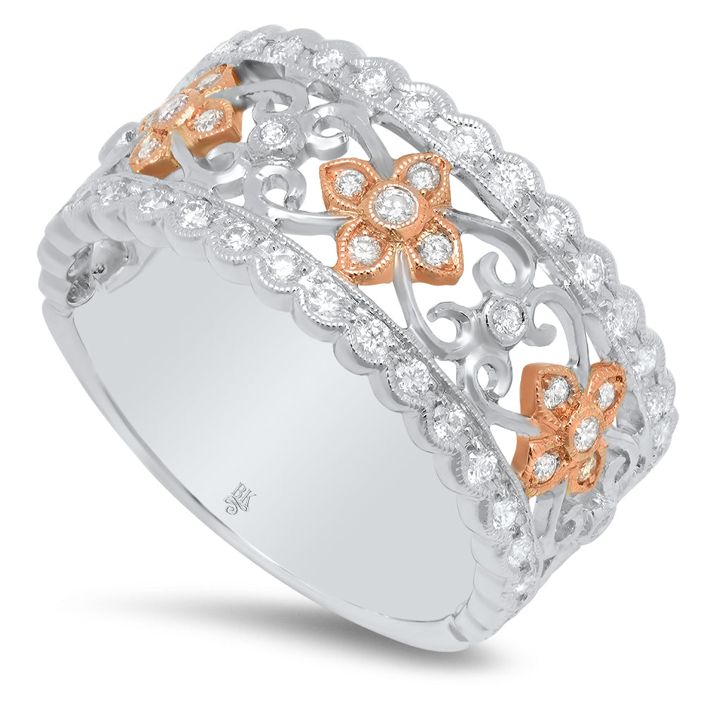 Diamond Two-Toned Half-Way Band | Beverley K