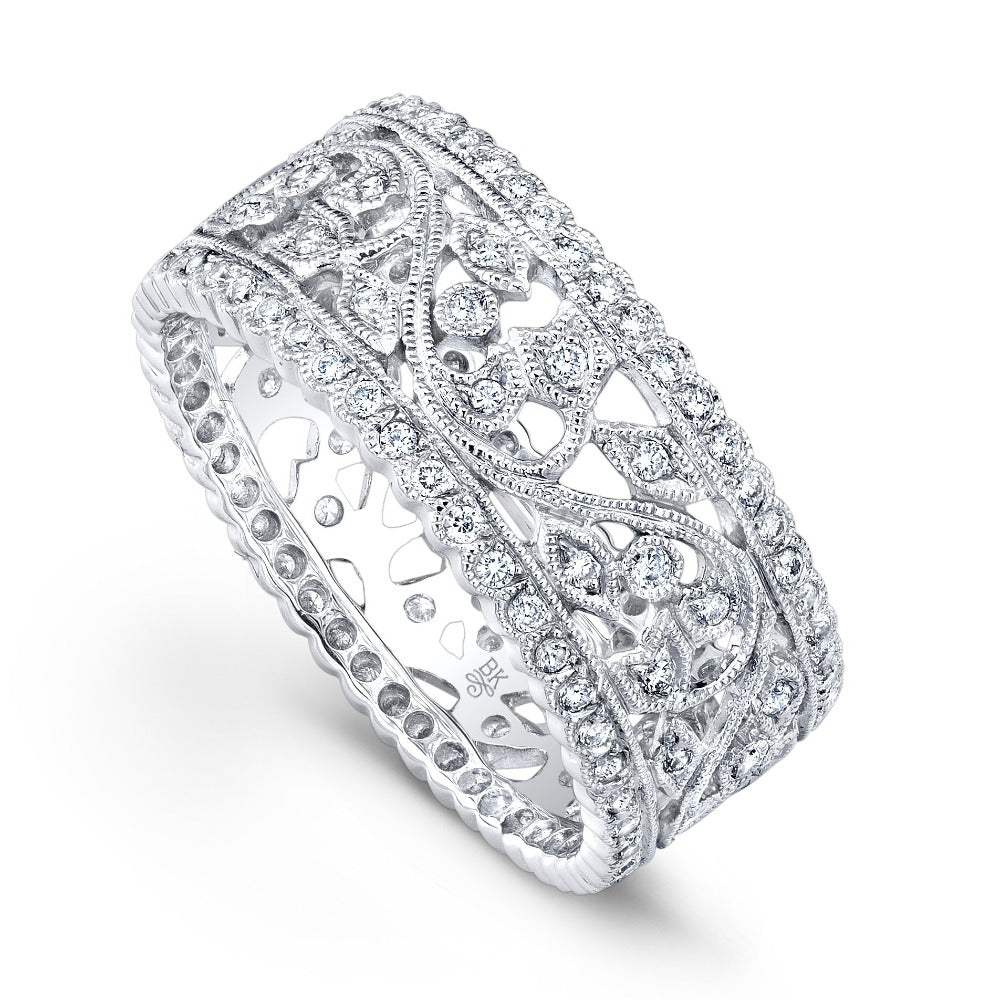 Diamond Vine Wide Eternity Band with Scalloped Edges | Beverley K
