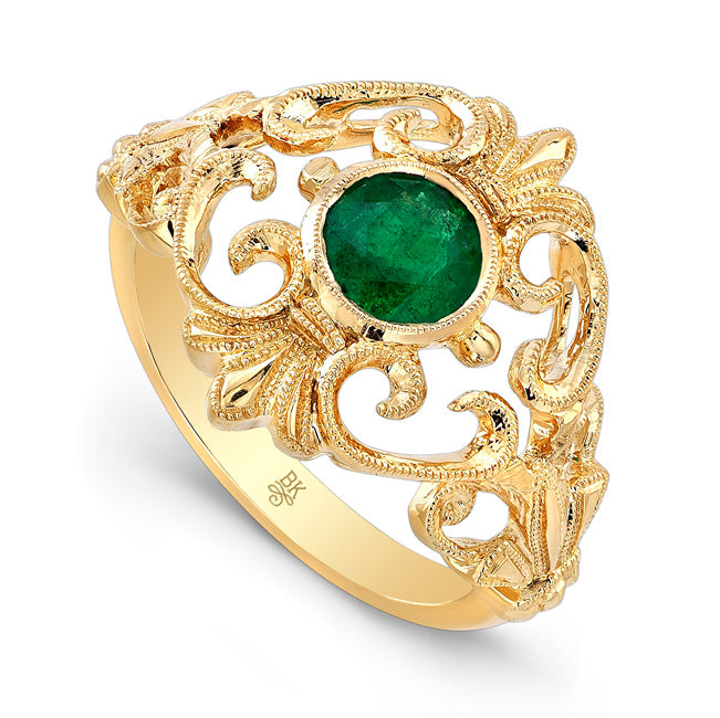 Emerald Filigree Fashion Ring | Beverley K