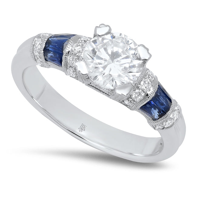 Engagement Ring Setting with Rounded Baguette Sapphire Shoulders | Beverley K