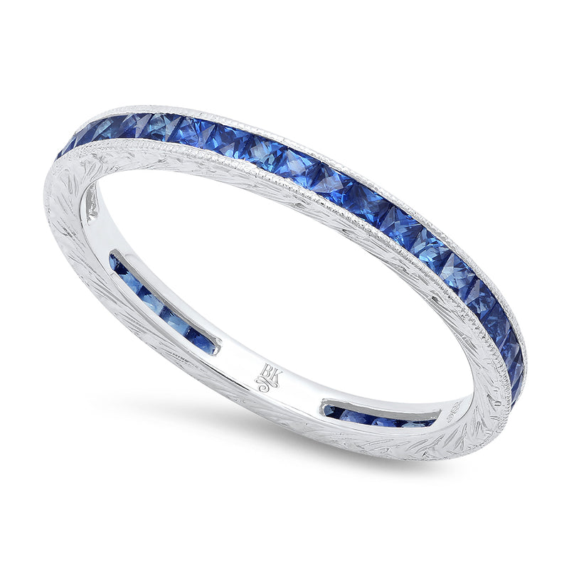 French Cut Sapphire Eternity Band-1.3mm | Beverley K