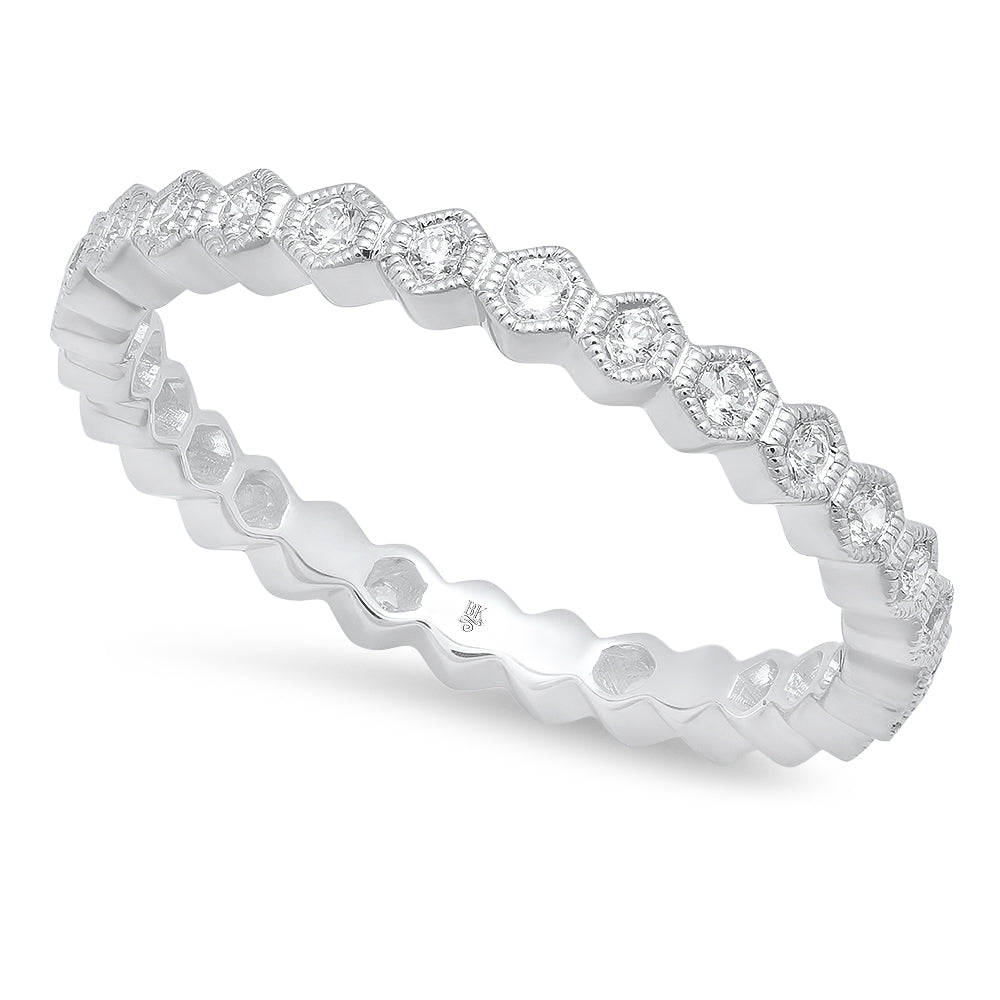 Hexagon Shape Diamond Eternity Band | Beverley K
