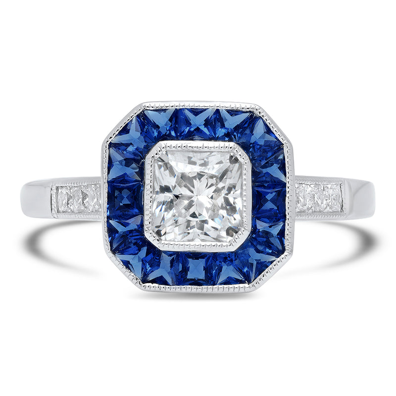 Hexagon Sapphire Halo Ring Setting | Beverley K