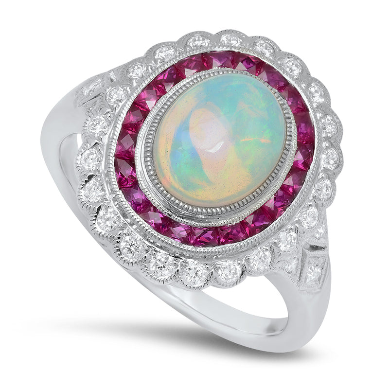 Opal Ring with Diamond and Ruby | Beverley K