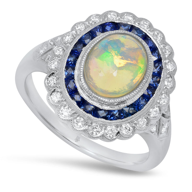 Opal Ring with Diamond and Sapphire | Beverley K