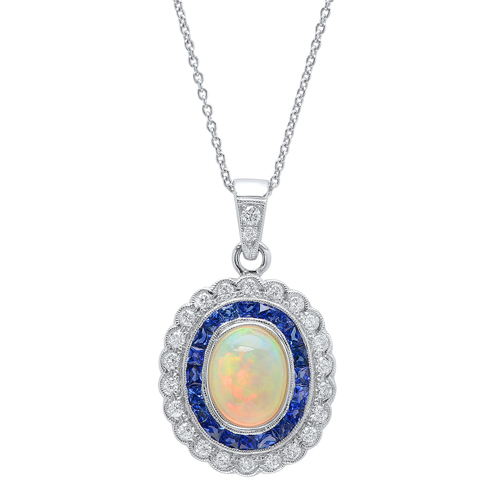 Opal, Sapphire, and Diamond Necklace | Beverley K