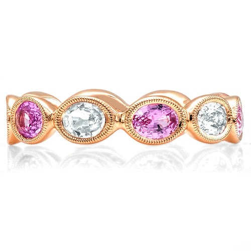 Oval White and Pink Sapphire Eternity Band | Beverley K