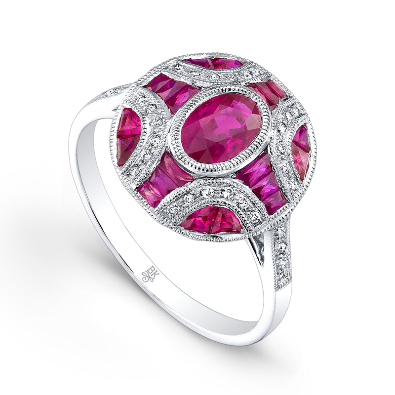 Oval Ruby Ring with Diamonds | Beverley K