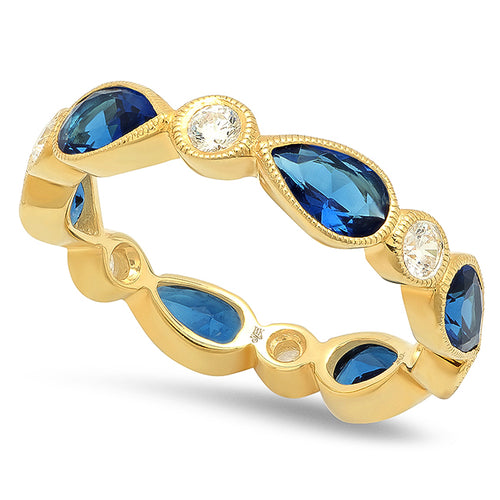 Pear Shape Sapphire and Round Diamond Eternity Band | Beverley K