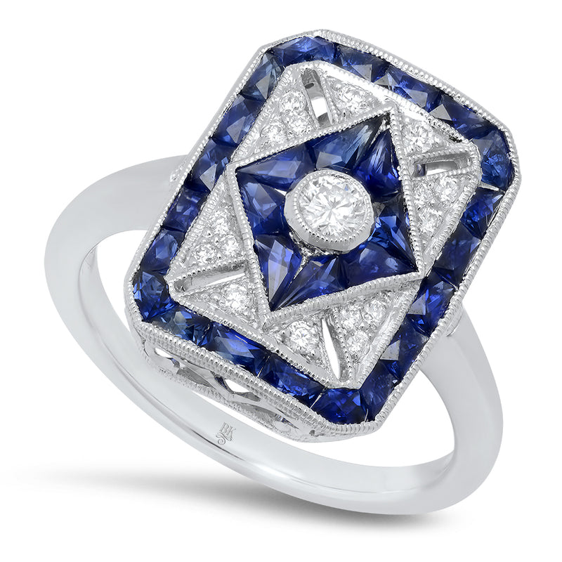 Rectangular Diamond and Sapphire Ring | Beverley K