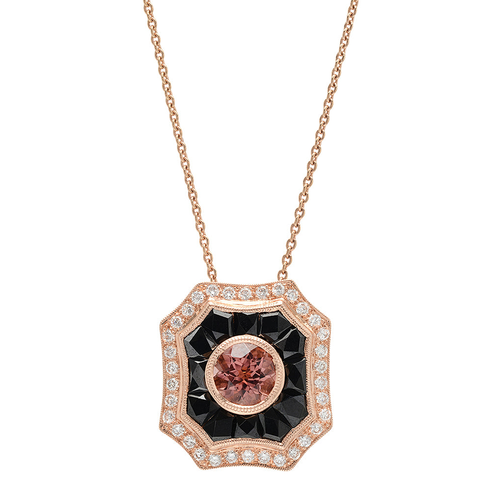 Pink Tourmaline, Onyx, and Diamond Necklace